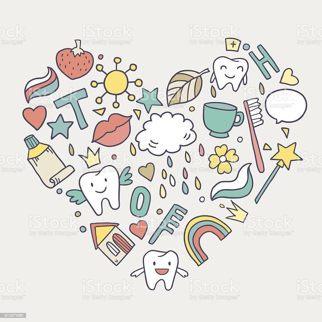 ハートカットイラストの歯 おとぎ話のベクターアート素材や画像を多数
