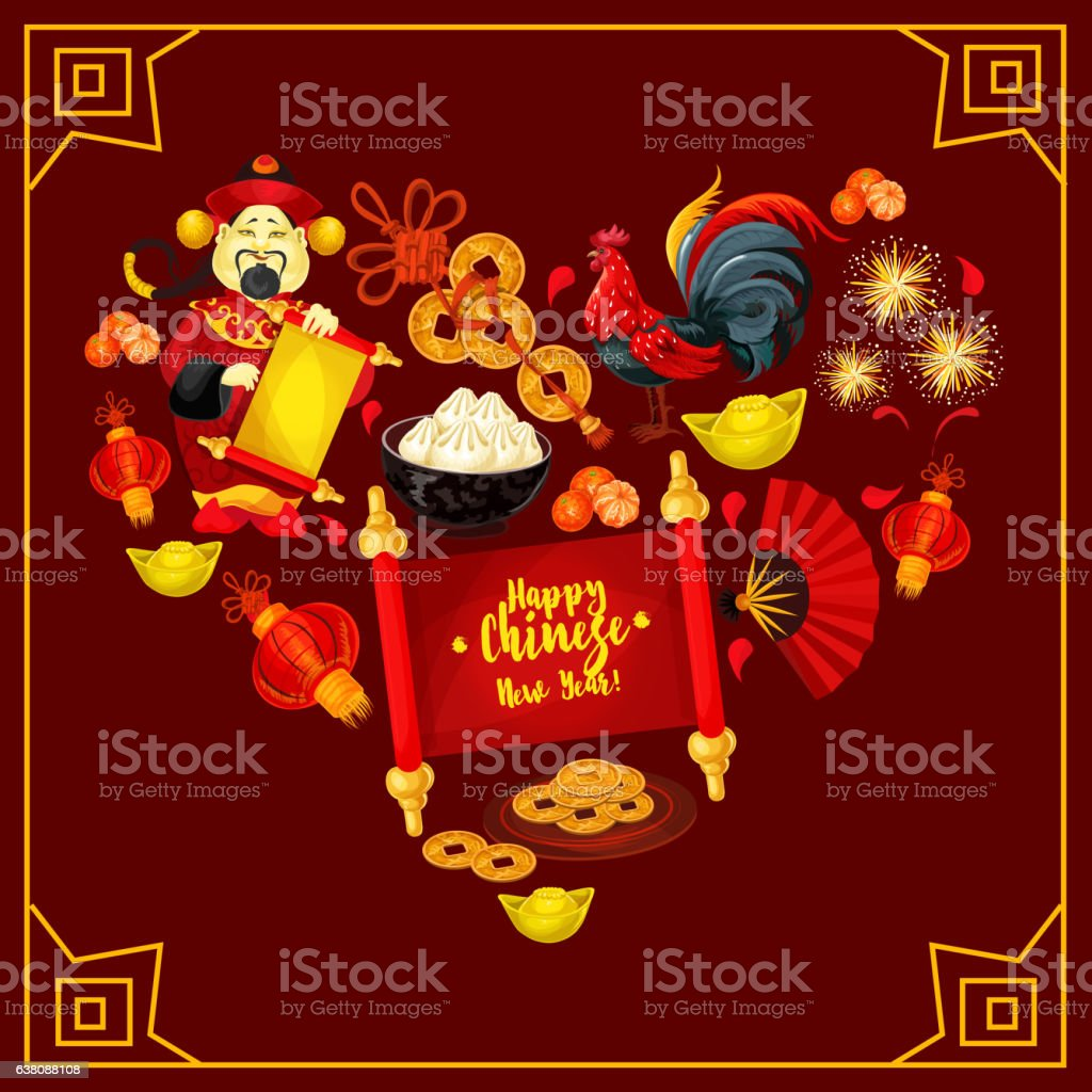 Heart With Chinese New Year Traditional Symbols Stock Vector Art