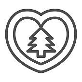 istock Heart with Christmas tree line icon, Christmas concept, Decorative heart shape ornament sign on white background, Heart with fir tree icon in outline style for mobile. Vector graphics. 1283631269