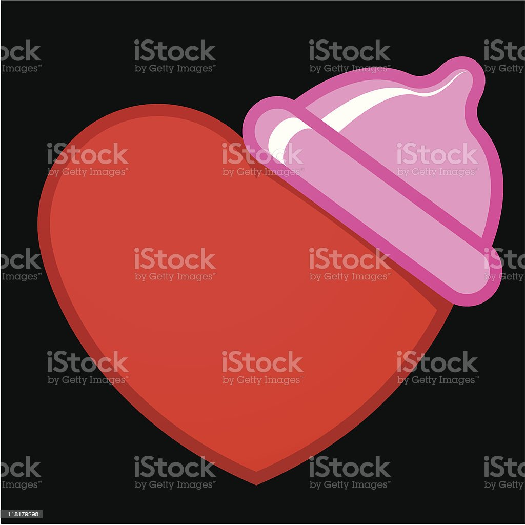 Heart with condom royalty-free stock vector art