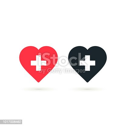 Heart With Cross Icon Set Vector Health Care Isolated Symbol Stock Art More Images Of A Helping Hand 1017008462