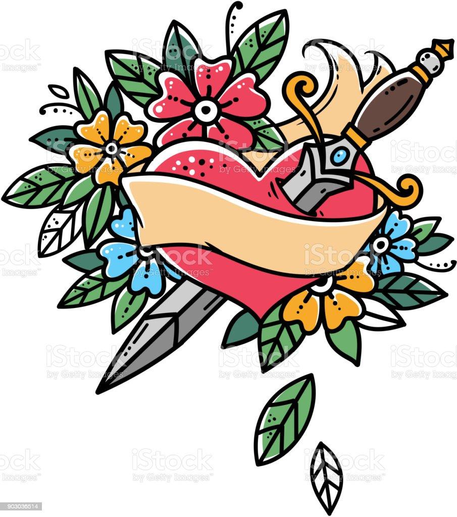Coeur Avec Poignard De Rubans Et De Fleurs Tatouage Retro