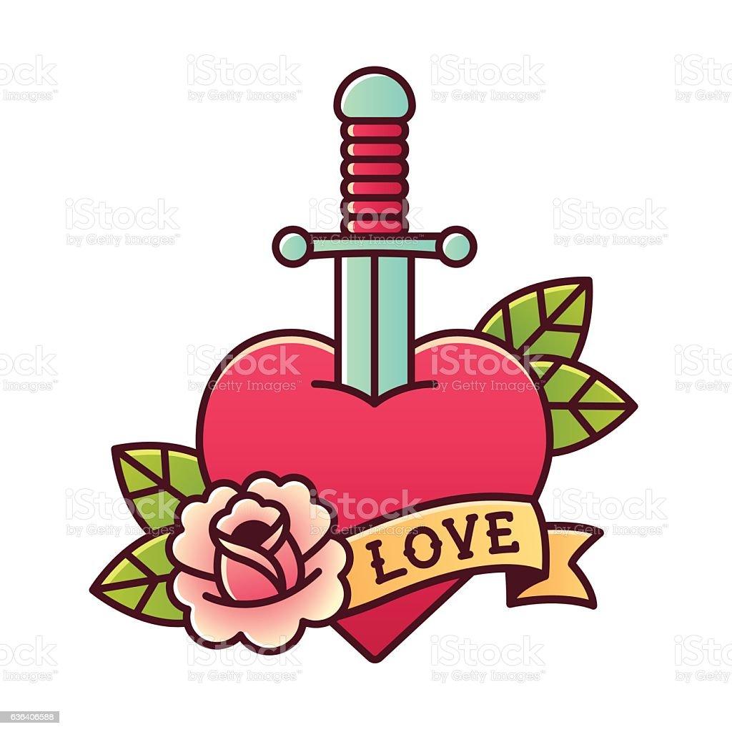 Heart with dagger tattoo - ilustração de arte em vetor