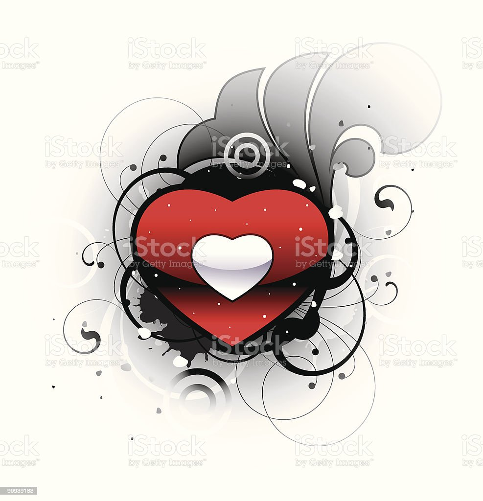Heart with decorative elements royalty-free stock vector art