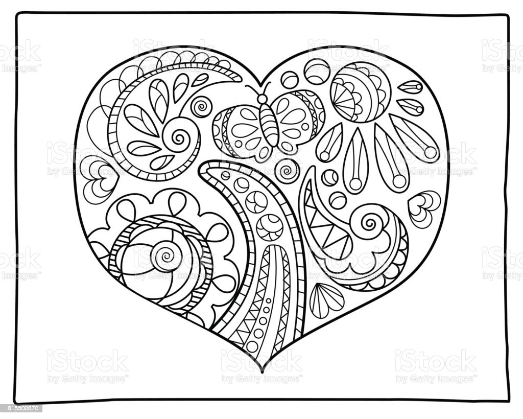 Heart With Doodle Ornament Adult Coloring Page Romantic Vector ...
