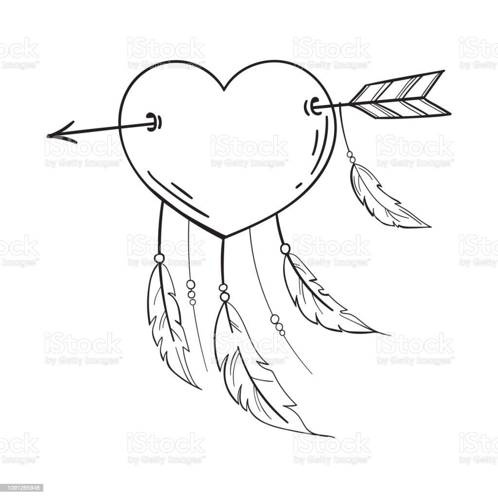 Kalp Tuylu Okla Dreamcatcher Kalp Olarak Deldi Vektor Doodle Tarzi