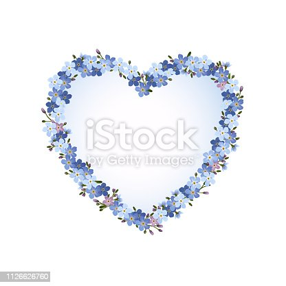 Heart with forget-me-not flowers, Blank nostalgic card, Vector illustration isolated on white background