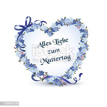 "Heart with forget-me-not flowers for Mother's Day, Greeting card -All the Love for Mothers's Day- in german ""Alles Liebe zum Muttertag"", Vector illustration isolated on white background"