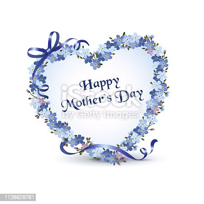"Heart with forget-me-not flowers for Mother's Day, Greeting card in English ""Happy Mothers's Day"" Vector illustration isolated on white background"