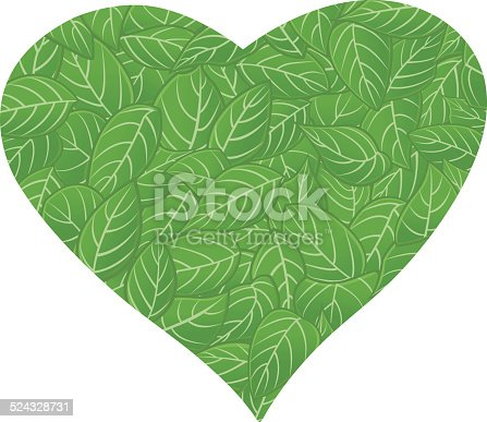 istock Heart with green foliage pattern / Coeur aux feuillage vert 524328731