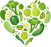 Heart with green vegetabels and fruits