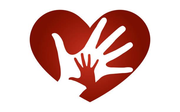 stockillustraties, clipart, cartoons en iconen met hart met handen logo vectorillustratie - adoptie