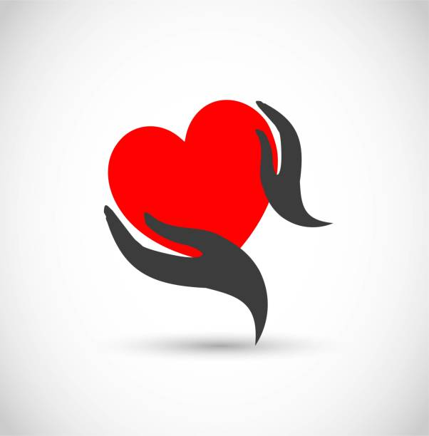 Heart with hands vector icon Heart with hands vector icon illustration affectionate stock illustrations