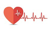 Heart with heartbeat, electrocardiogram.