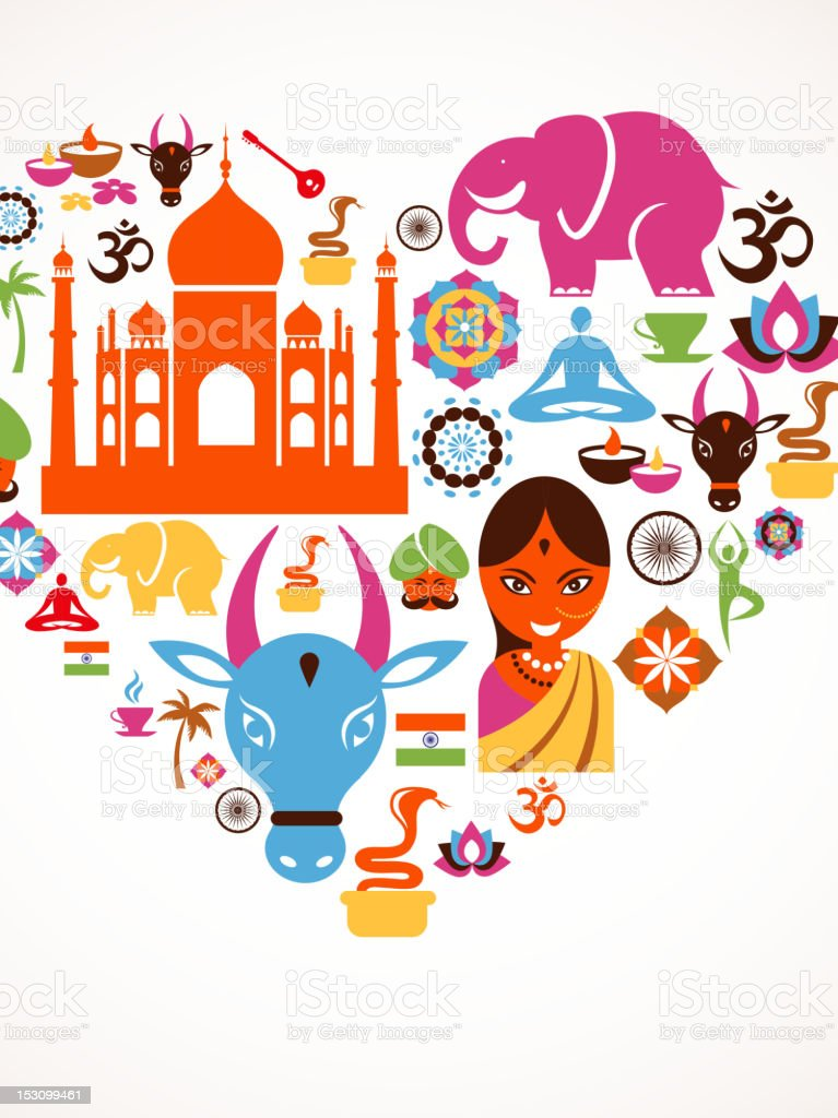 Heart with India vector icons royalty-free stock vector art