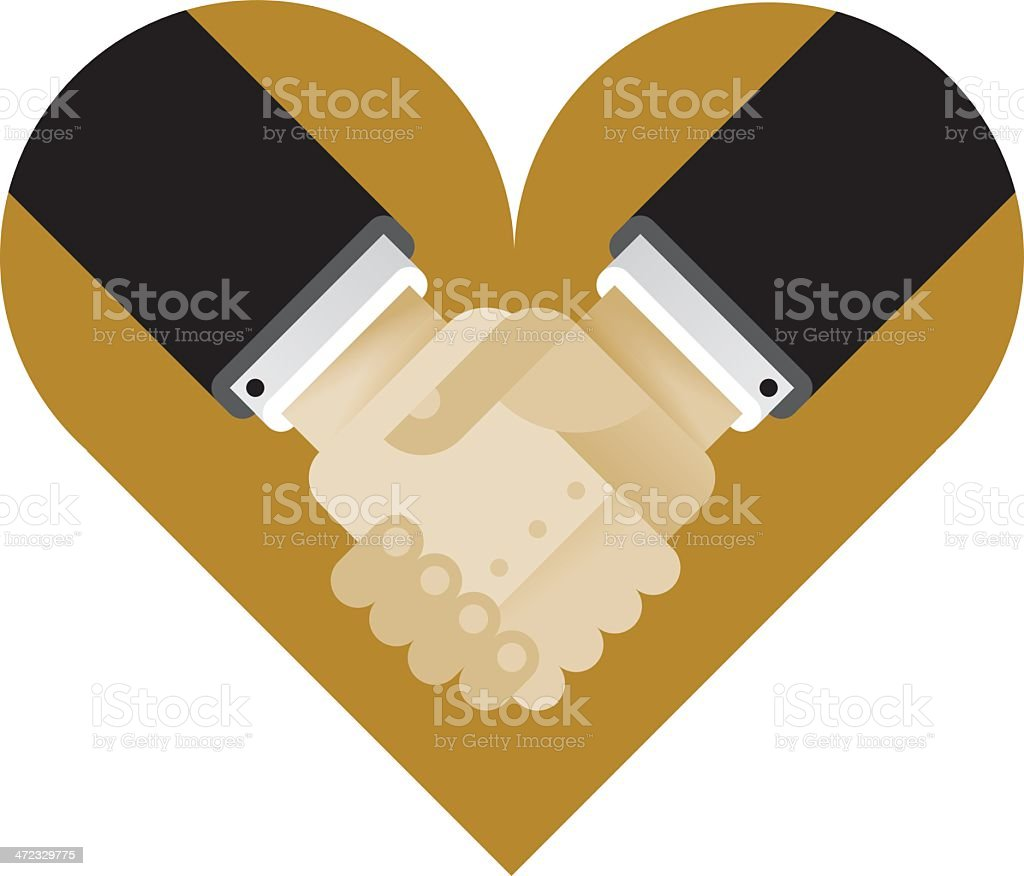Heart with interracial business handshake vector art illustration