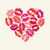 Heart with lipsticks prints. Happy Valentine's Day.