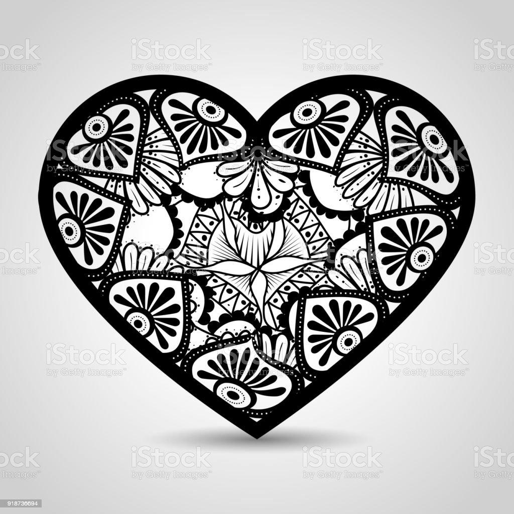 Coeur avec style boho mandala cliparts vectoriels et plus d 39 images de abstrait 918736694 istock - Mandala de coeur ...