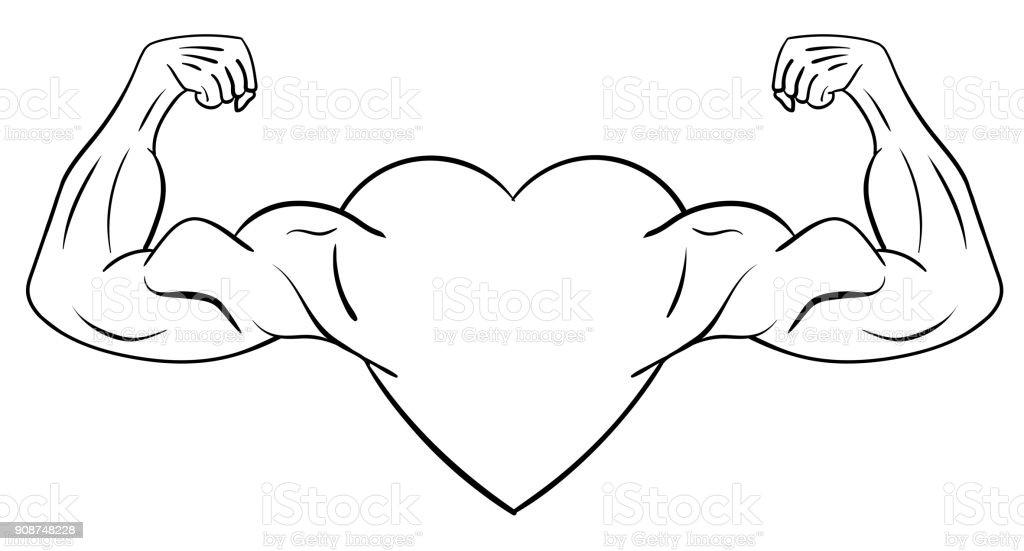 Ilustración de Corazón Con Brazos Musculares y más banco de imágenes ...