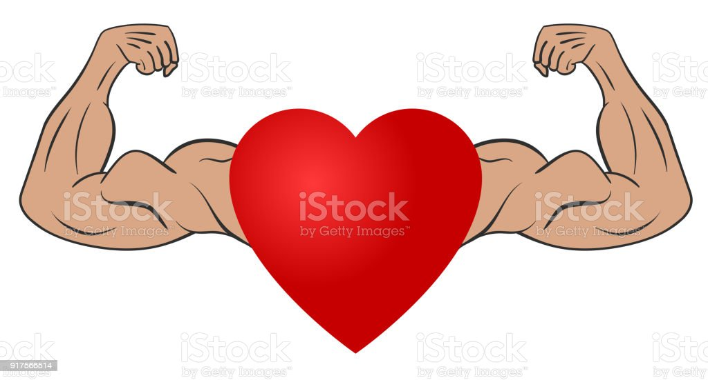 Heart With Muscular Arms Stock Vector Art & More Images of Arm ...