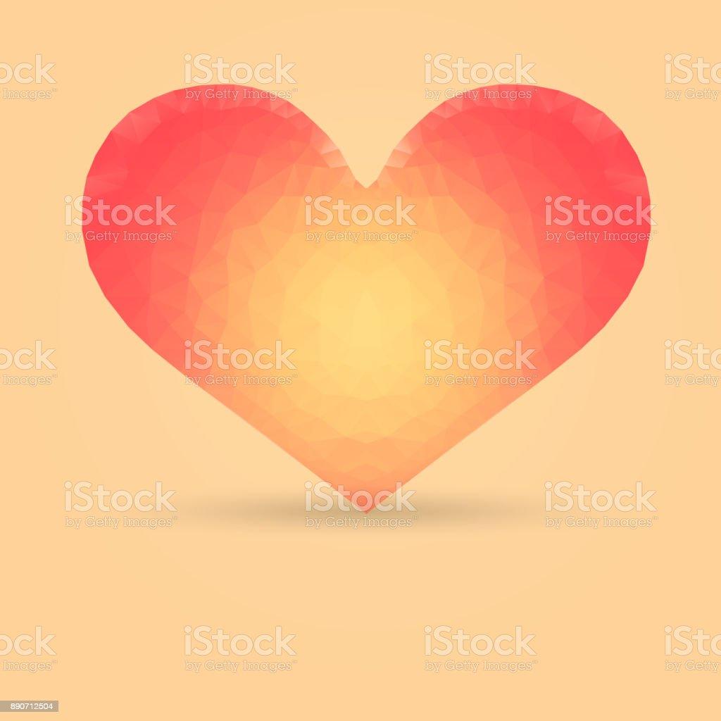 Heart with Polygonal Pattern vector art illustration