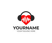 Heart with pulse in headphones, logo design. Healthy heart and music, vector design. Healthy lifestyle and health care illustration