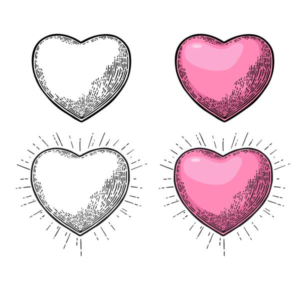 heart with rays. vector black vintage engraving illustration - гравировка stock illustrations