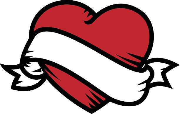 illustrations, cliparts, dessins animés et icônes de coeur avec ruban - tatouage