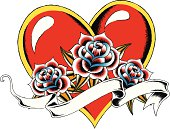 heart with rose tattoo drawing