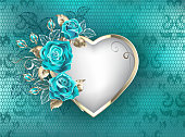 Heart with frame of white gold, decorated with turquoise roses with white and gold leaves on turquoise lace background. Fashionable color. Blue rose. Tiffany.