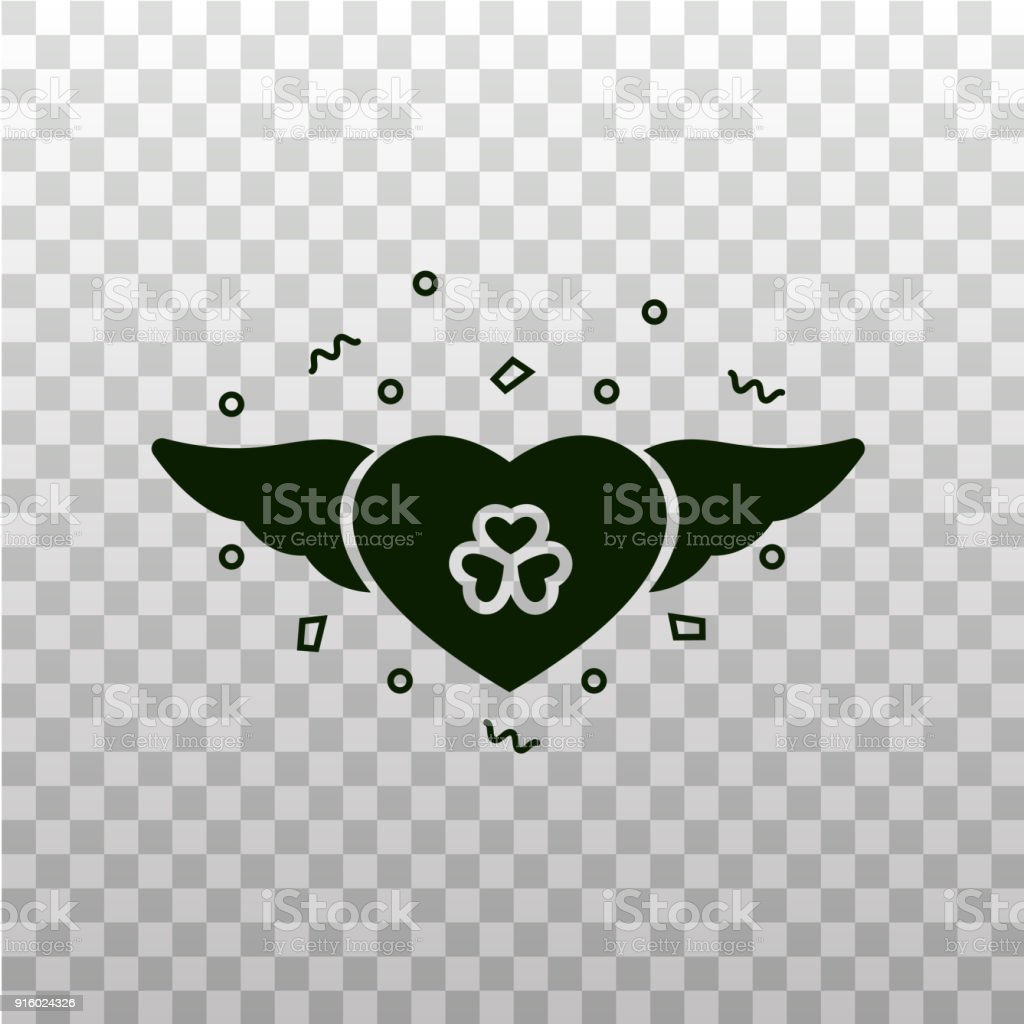 Heart With Shamrock Symbol And Wings Flat Silhouette Icon On