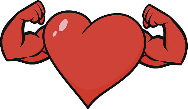 heart with strong arms - cartoon muscle arms stock illustrations, clip art, cartoons, & icons
