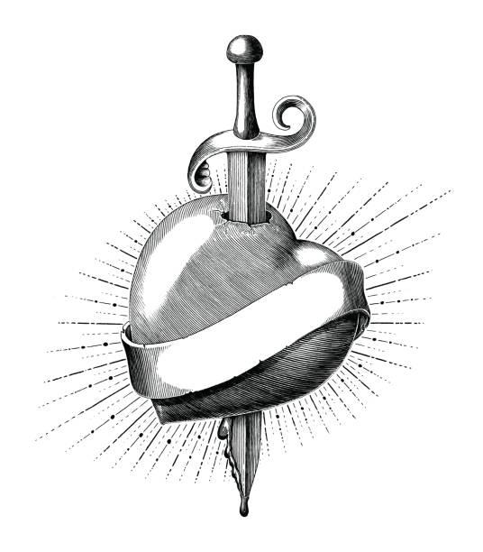 illustrations, cliparts, dessins animés et icônes de coeur d'épée tatouage main dessiner style vintage gravure isolé sur fond blanc - tatouages poignards