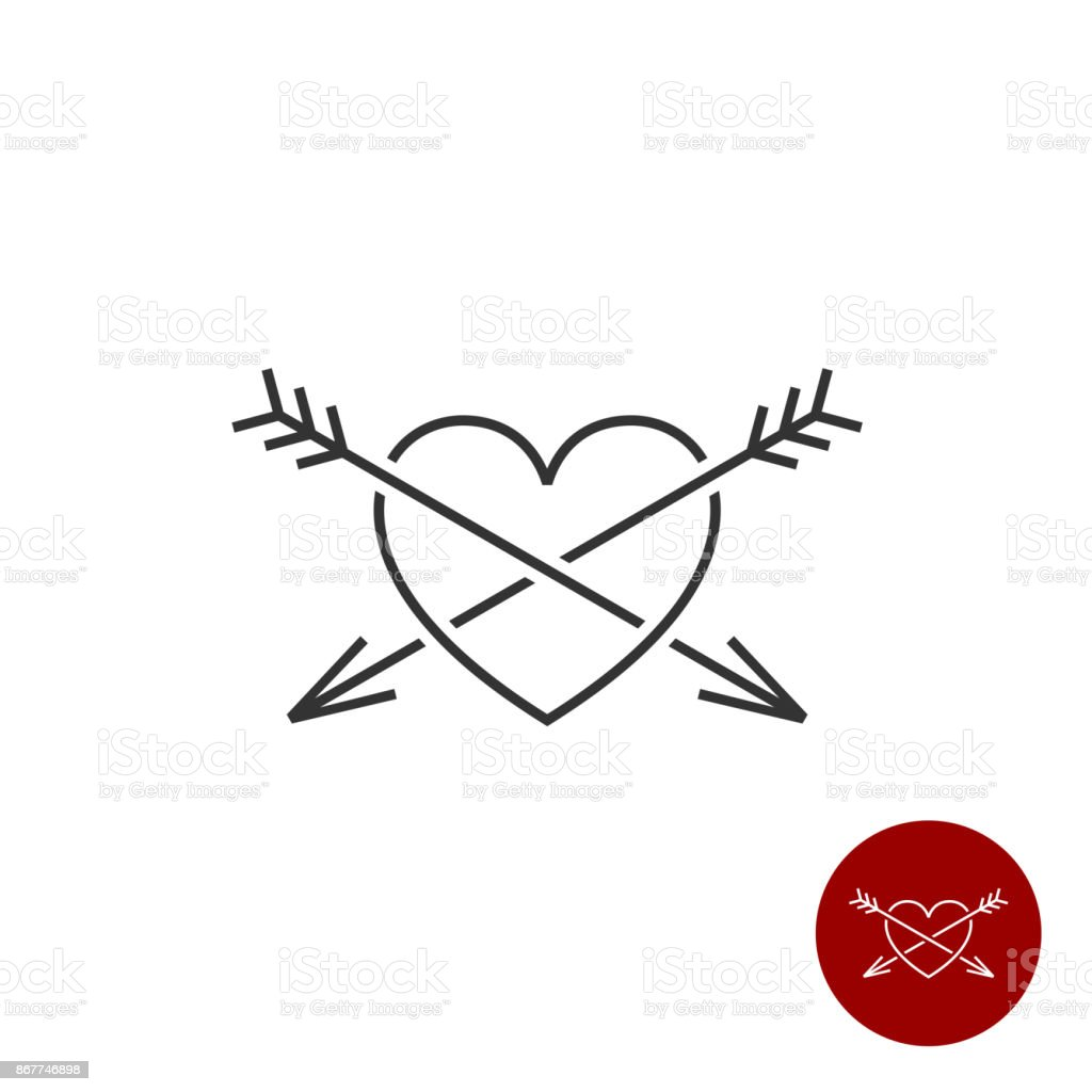Heart with two arrows black outline style symbol stock vector art heart with two arrows black outline style symbol royalty free heart with two arrows black buycottarizona Image collections