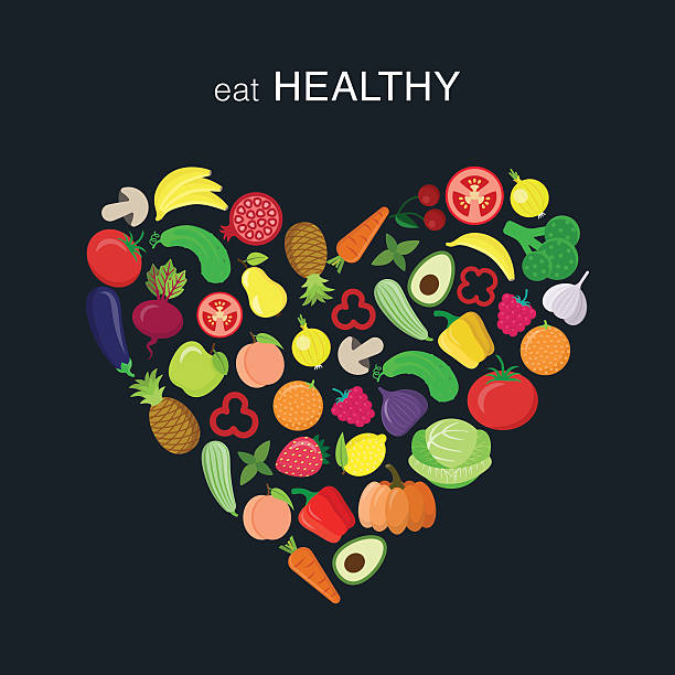 heart with vegetables - healthy eating stock illustrations, clip art, cartoons, & icons