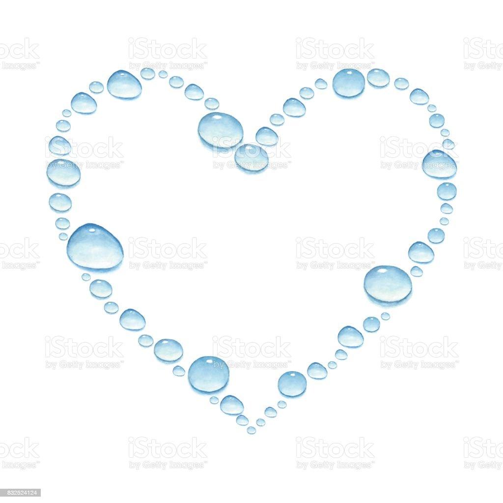 Sulu Boya Su Damlaları Ile Kalp Stok Vektör Sanatı Boyanin Daha