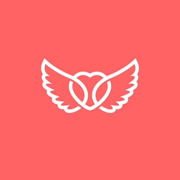 stockillustraties, clipart, cartoons en iconen met hart met vleugel logo. moderne vector illustratie. - engel
