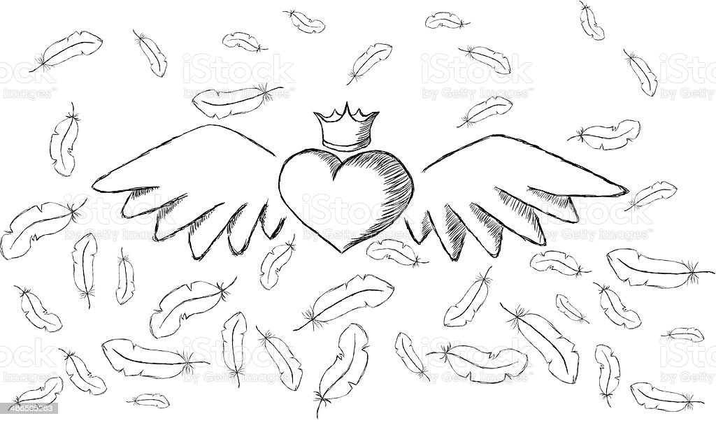 Heart with wings and feathers around vector art illustration