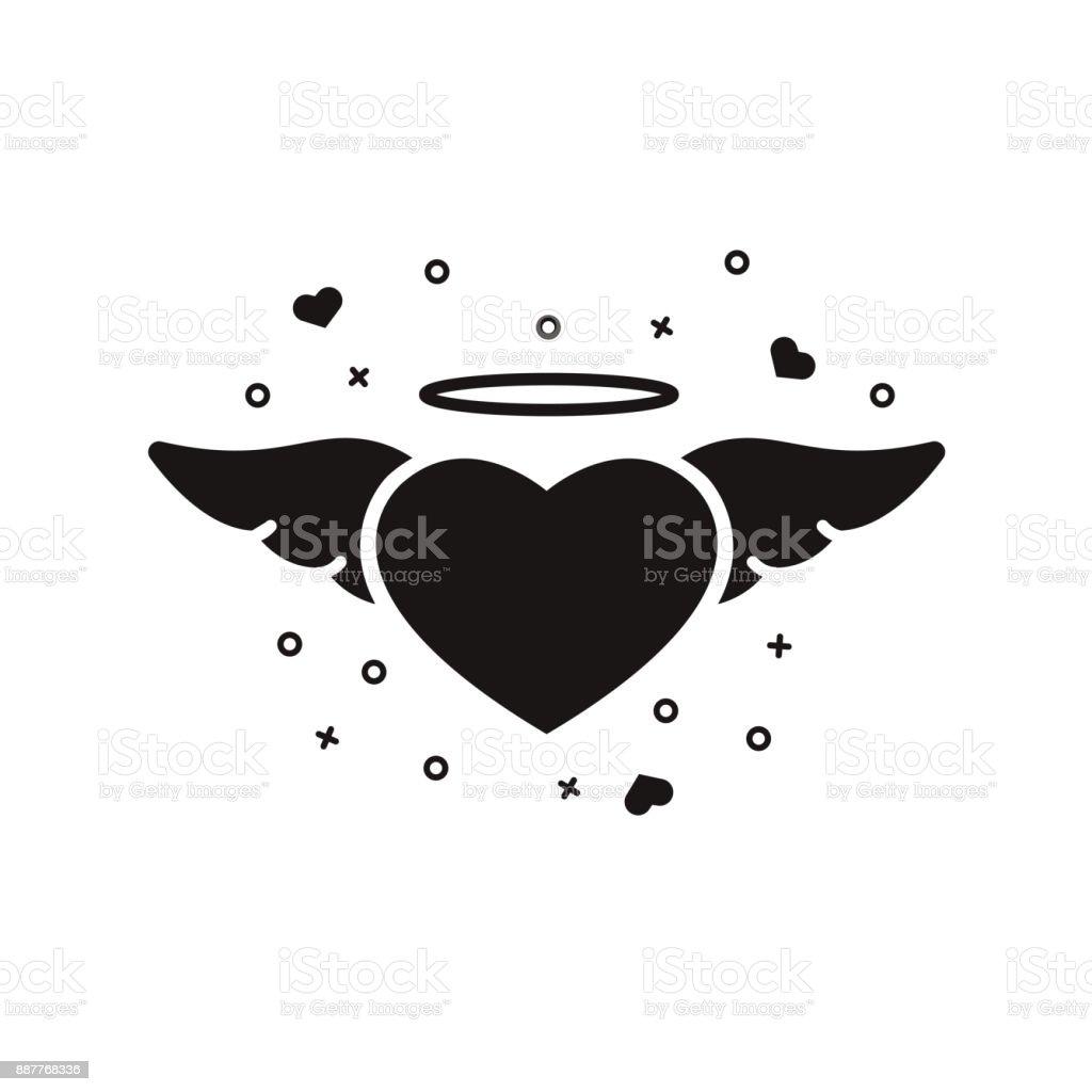 心が翼とハロ 分離の背景に黒のシルエットバレンタインデーのモノクロの