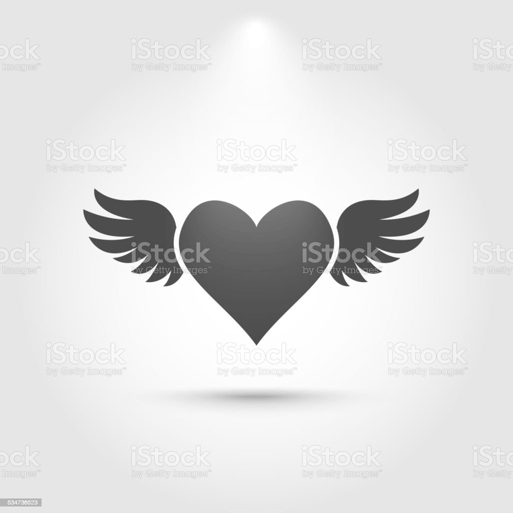 Heart with wings icon vector art illustration