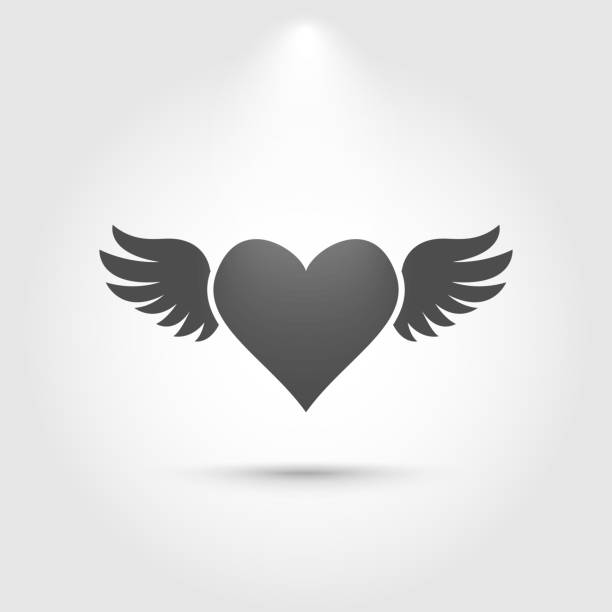 heart with wings icon - angels tattoos stock illustrations, clip art, cartoons, & icons
