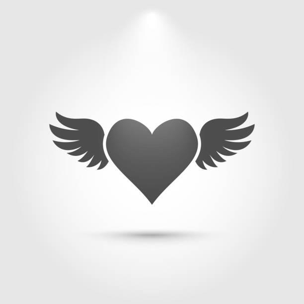 herz mit flügeln-symbol - engel tattoos stock-grafiken, -clipart, -cartoons und -symbole