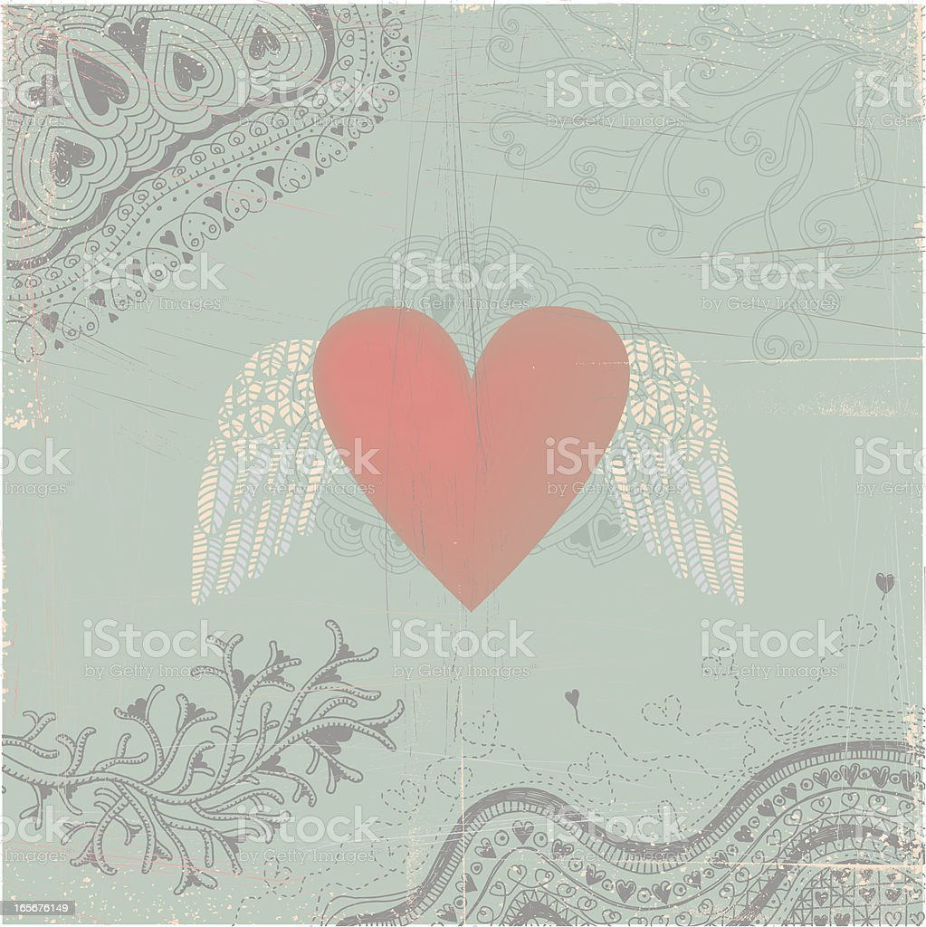 Heart with wings on seamless doodle background royalty-free stock vector art
