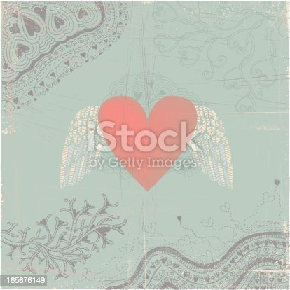 istock Heart with wings on seamless doodle background 165676149