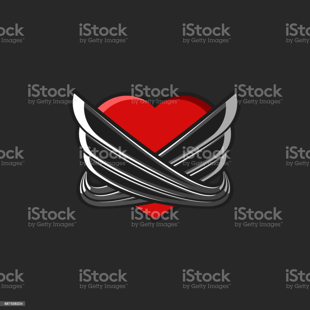 Heart with wings symbol tattoo mockup on black background graffiti style love emblem for valentine day party poster illustration