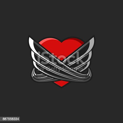 Heart With Wings Symbol Tattoo Mockup On Black Background Graffiti