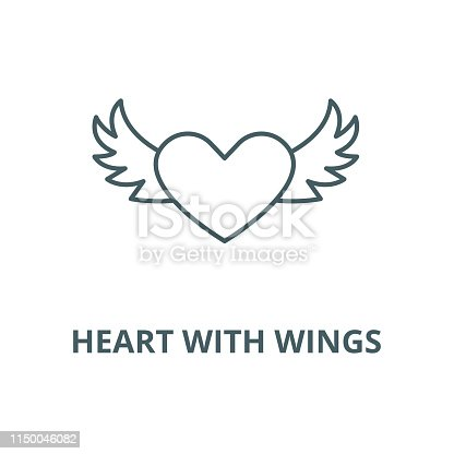 Heart with wings vector line icon, outline concept, linear sign