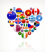 Heart with World Flag Buttons