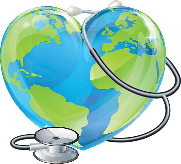 bildbanksillustrationer, clip art samt tecknat material och ikoner med heart world health day earth stethoscope globe concept - recycling heart