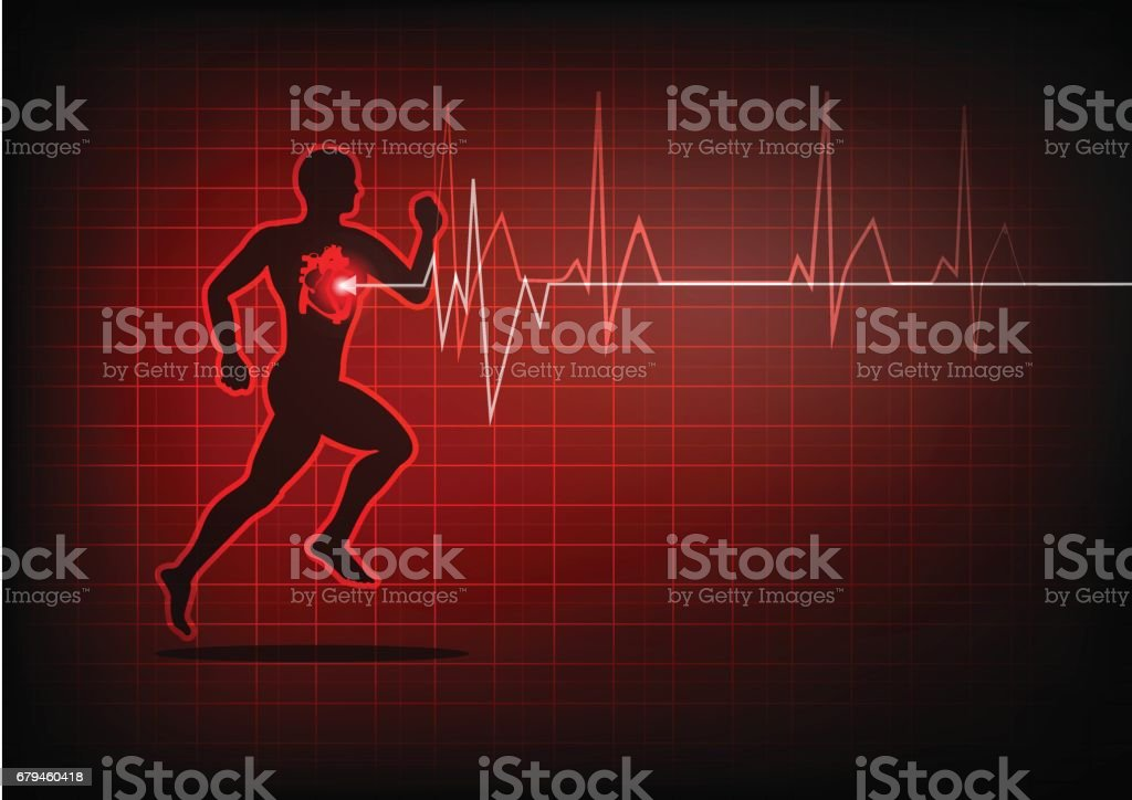 heartbeat electrocardiogram and running man royalty-free heartbeat electrocardiogram and running man stock vector art & more images of abstract